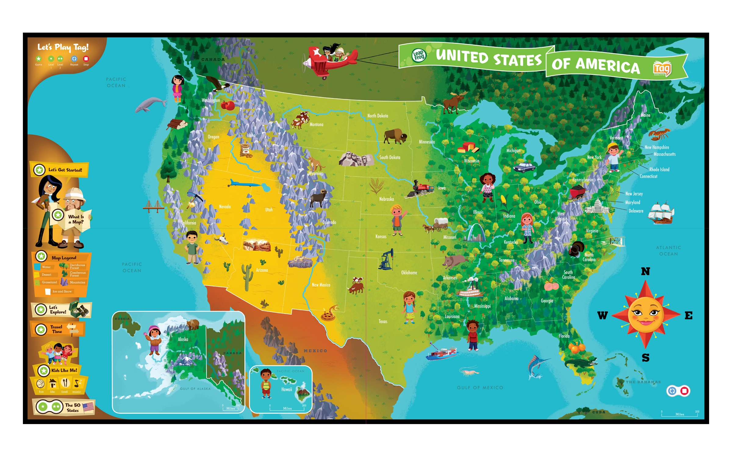 Us Maps Puzzle Globalinterco - Us geography map games
