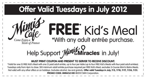 photo about Mimi's Coupons Printable identified as Mimis Restaurant Supports Nearby Childrens Wonder Community