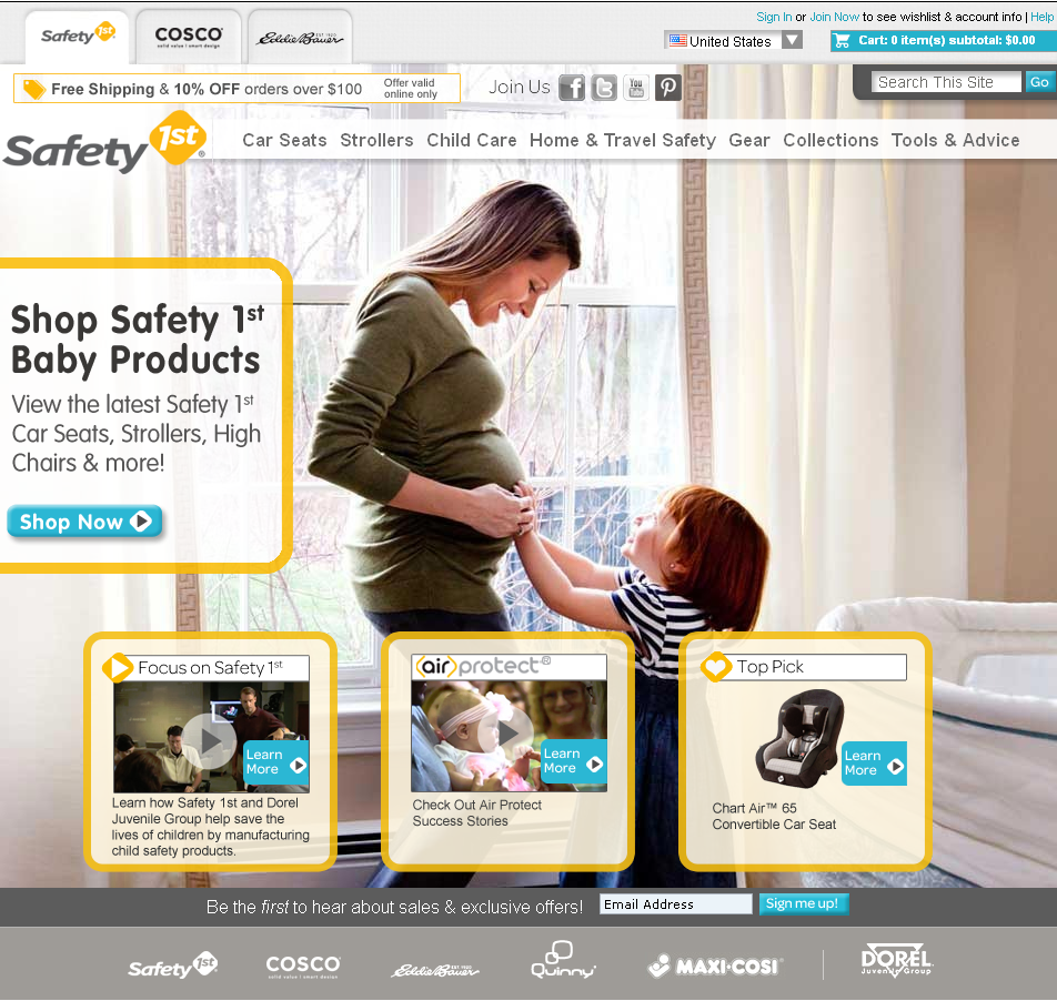 Safety 1st Website Home Page