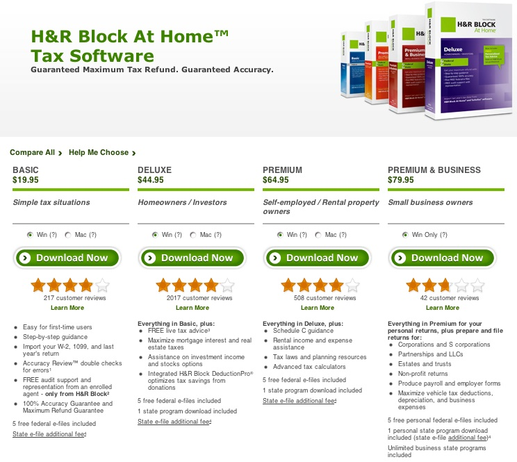 H&R Block At Home Tax Software
