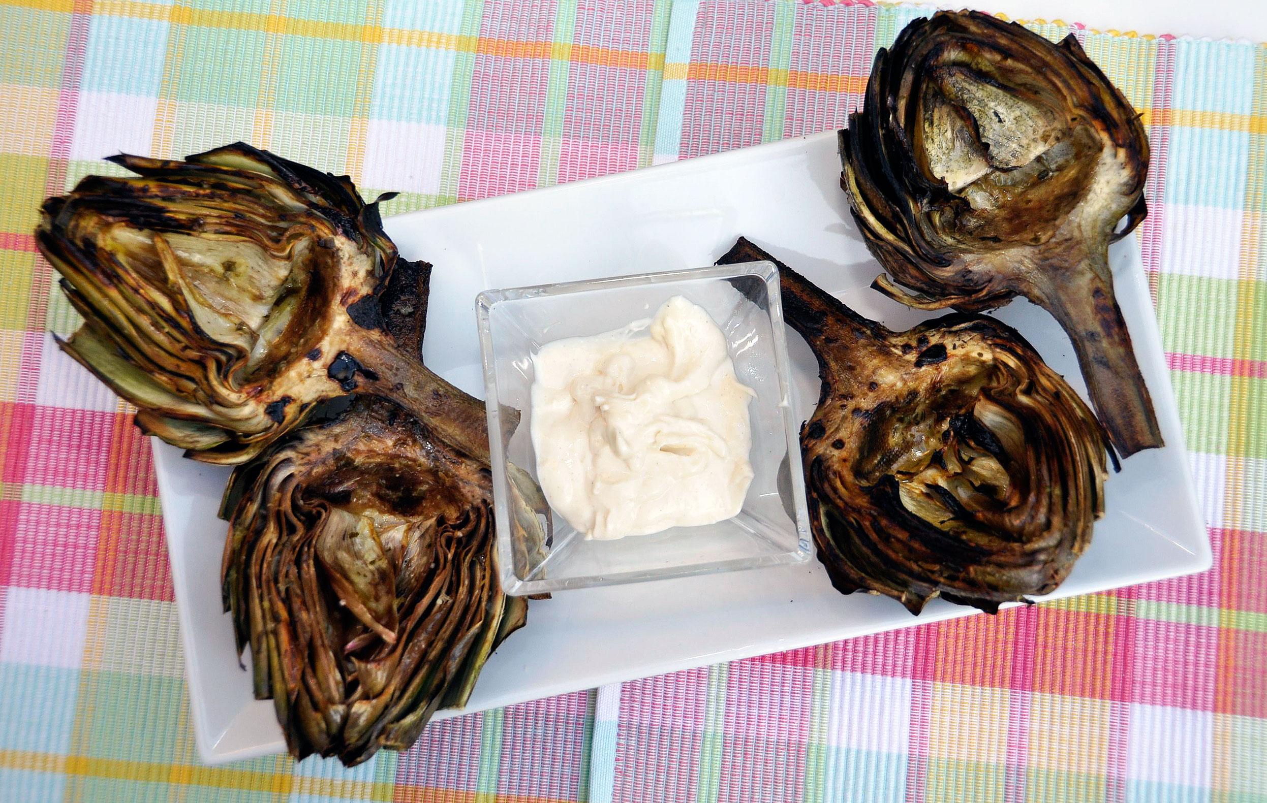 Recipe: Grilled Artichoke + Garlic Aioli
