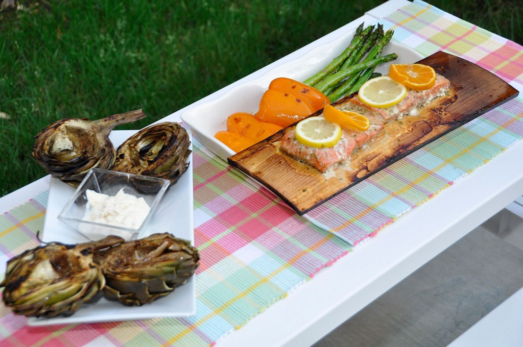 Cedar Plank-Grilled Salmon and Vegetables