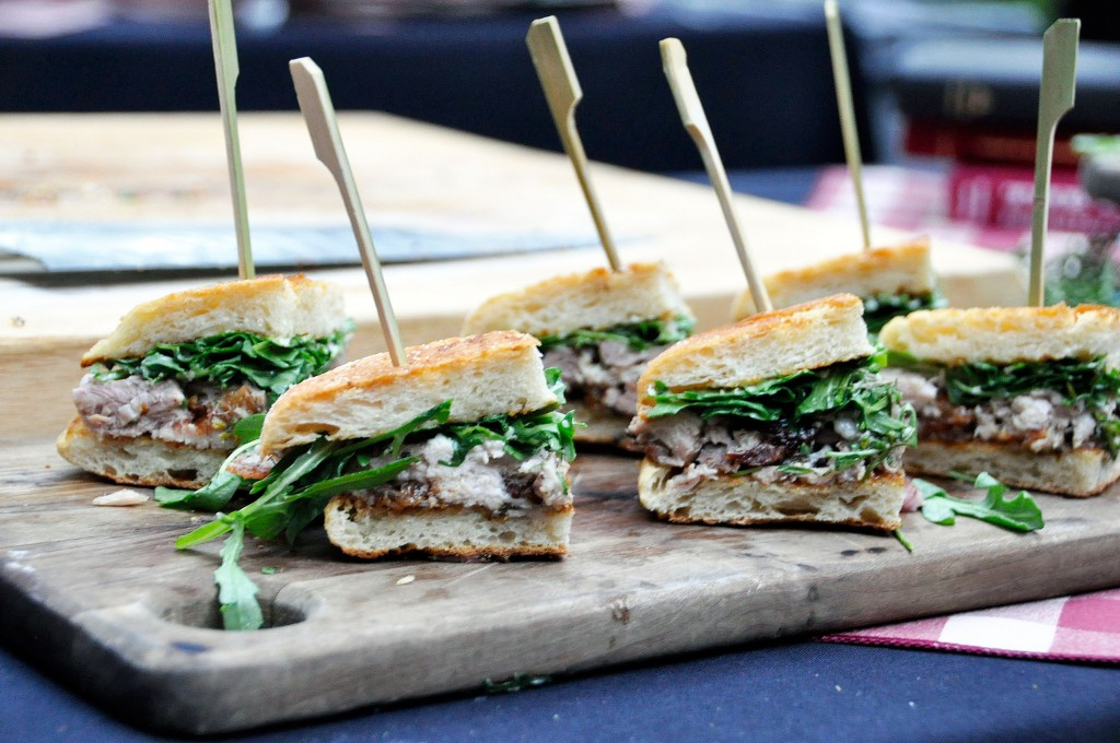 Sandwich With Balsamic Caramelized Onions, Asiago Cheese And Arugula ...