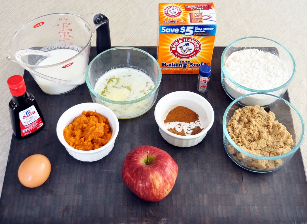 Ingredients for Pumpkin Apple Spice Muffins