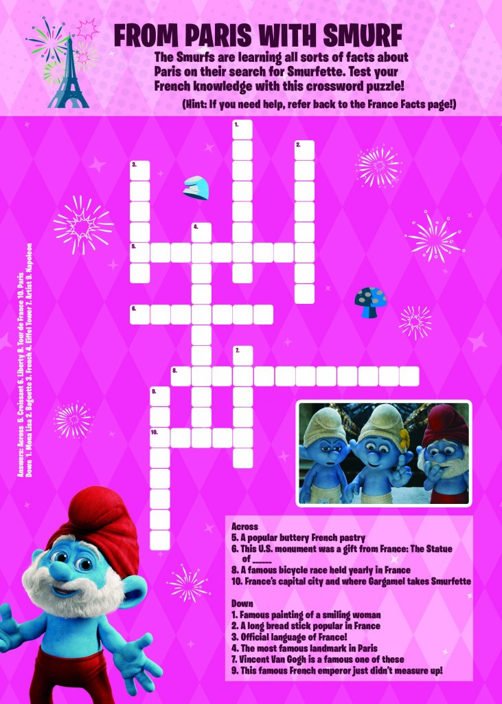 Smurfs 2 Crossword Puzzle