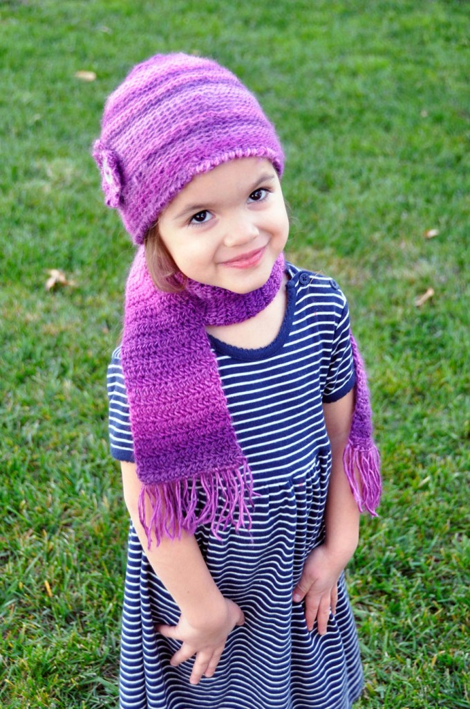 how to crochet a kids beanie and scarf