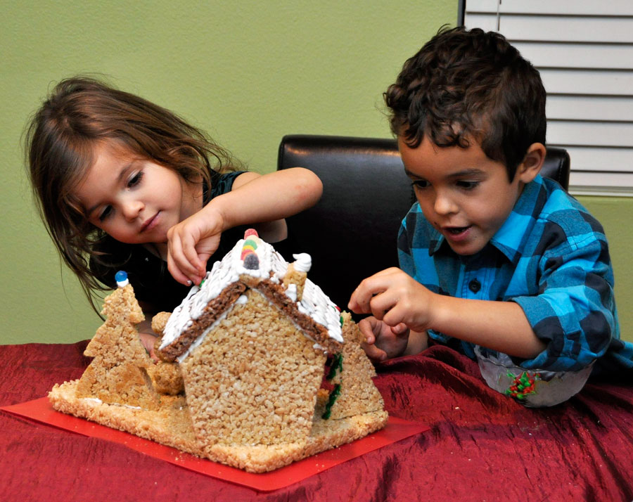 Decorating Rice Krispie House