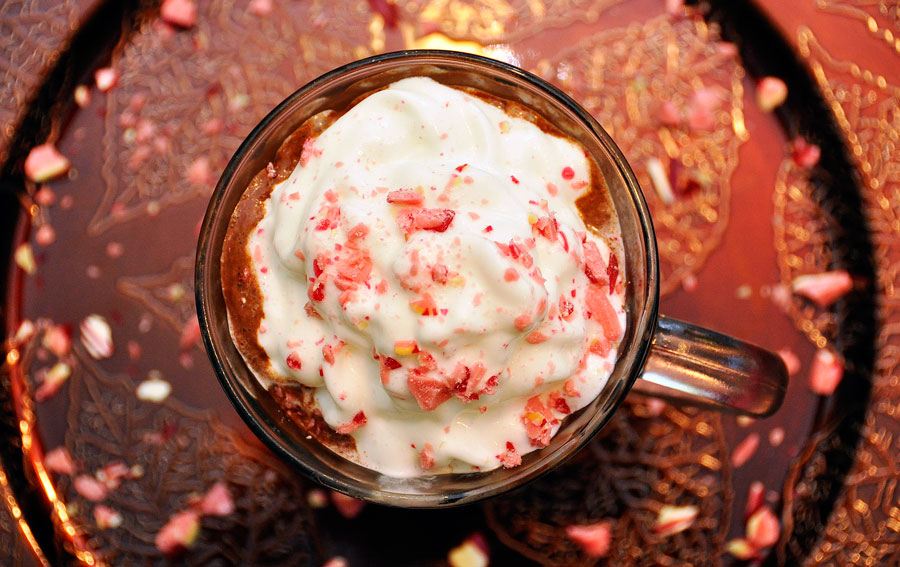 Recipe for Hot Chocolate Peppermint Ice Cream Float
