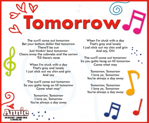 Annie - Tomorrow Lyrics | MetroLyrics