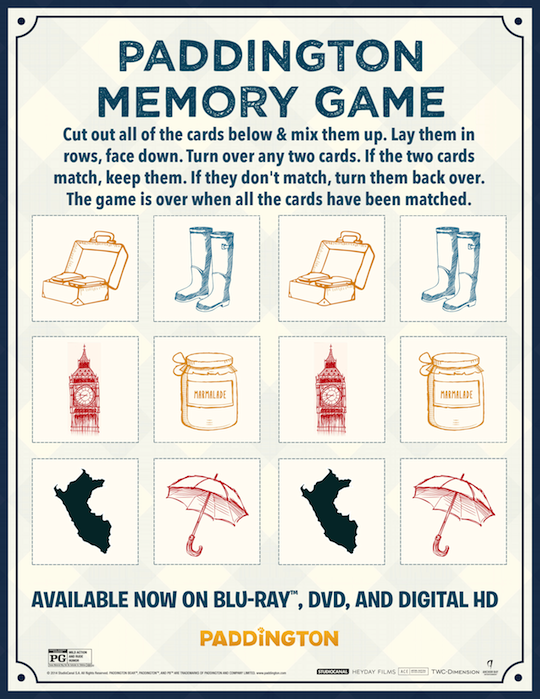 Paddington Memory Game
