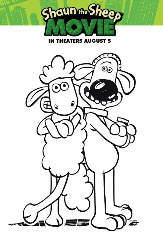 Shaun The Sheep Coloring Sheet