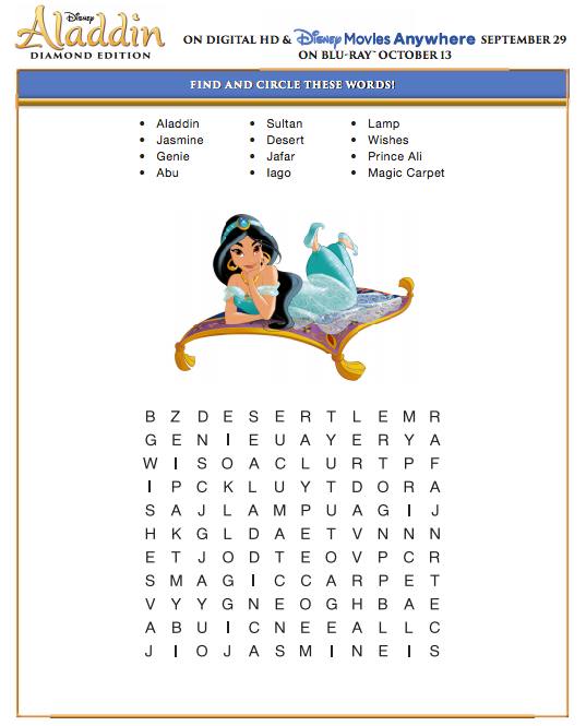 Disney S Aladdin Printables And Coloring Pages Diamond