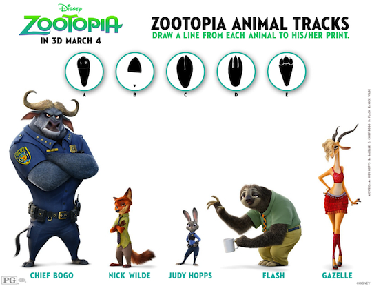 Zootopia Activity Sheet