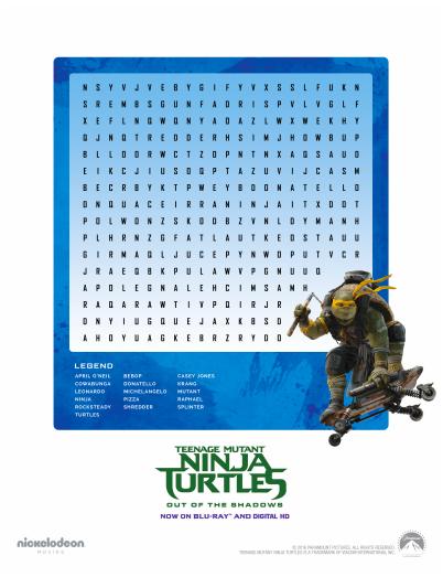 Teenage Mutant Ninja Turtles Activity Sheet