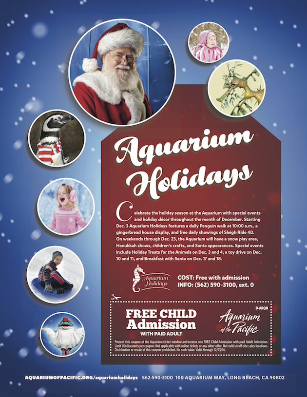 Aquarium of the Pacific Holidays Flyer With Coupon 2016