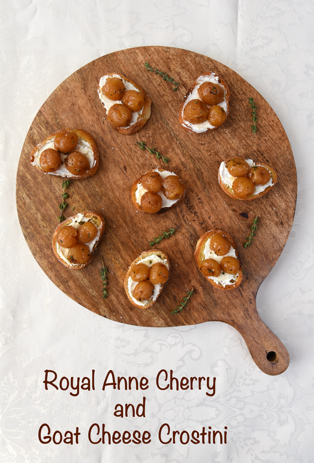 Royal Anne Cherry and Goat Cheese Crostini