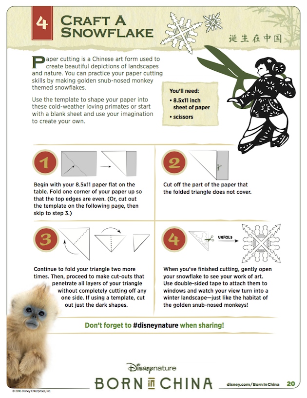 Craft a Snowflake - Disneynature's Born in China