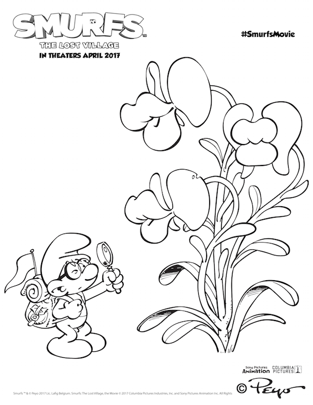 Smurfs: The Lost Village Brainy Coloring Page