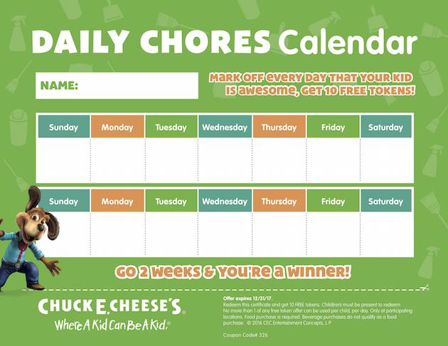 Daily Chores Printable Calendar