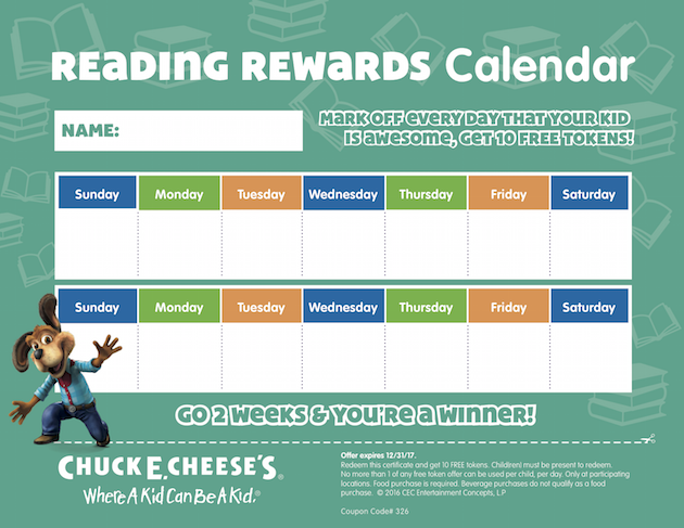 Reading Rewards Printable Calendar