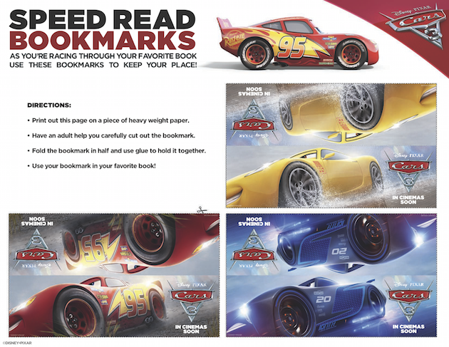 Cars 3 Bookmarks