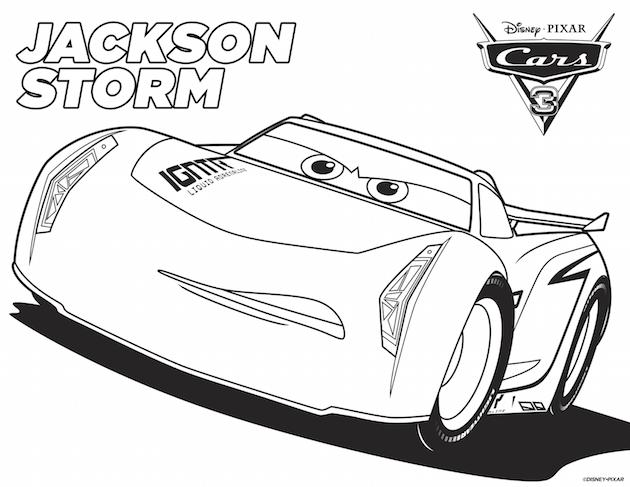 Cars 3 Jackson Storm Coloring Sheet