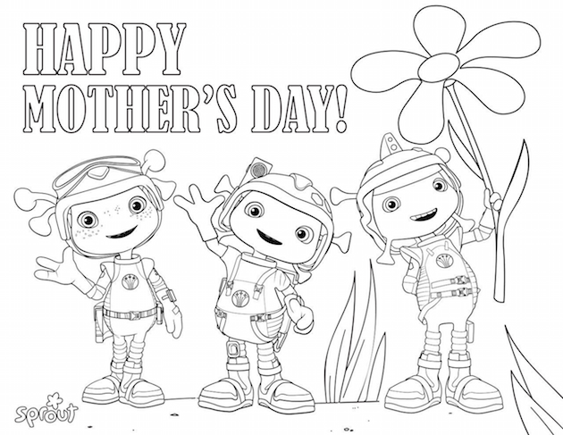 Ollie and Moon Mothers Day Coloring Sheet
