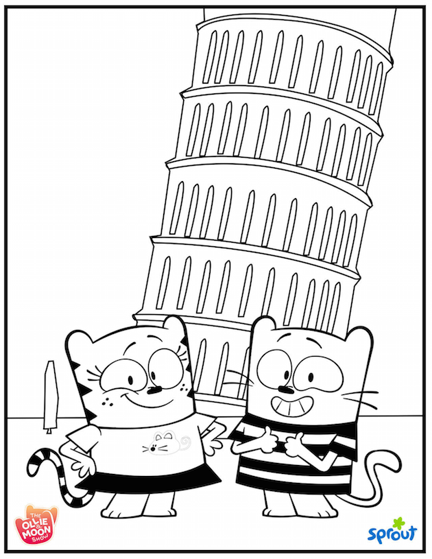 Ollie and Moon Pisa Coloring Sheet