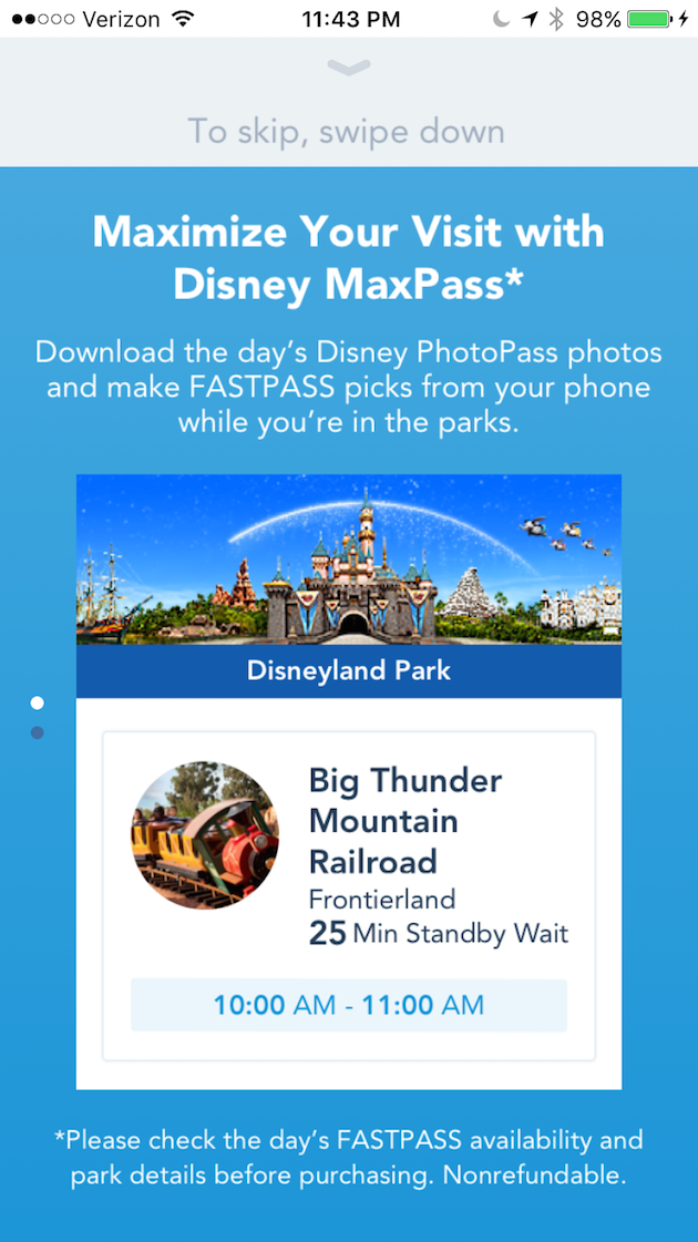 Disney MaxPass Screen