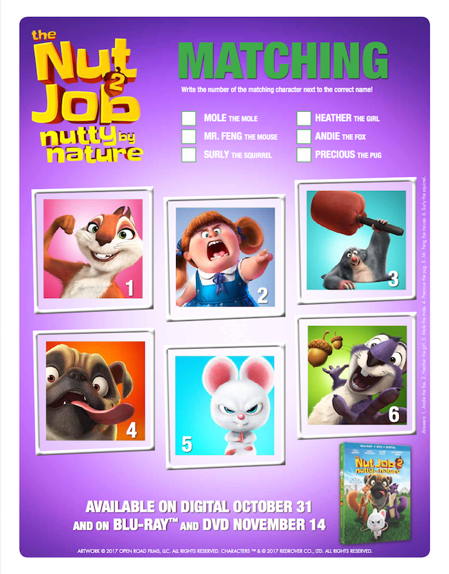 The Nut Job 2 Matching Game