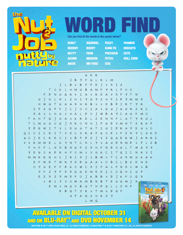 The Nut Job 2 Word Find