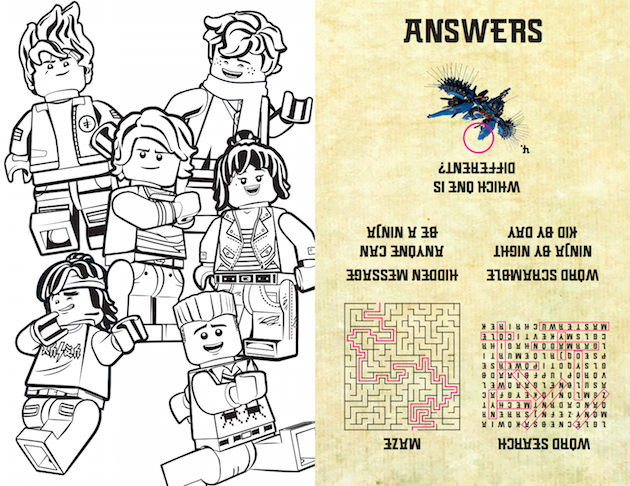 LEGO NINJAGO Answer Sheet