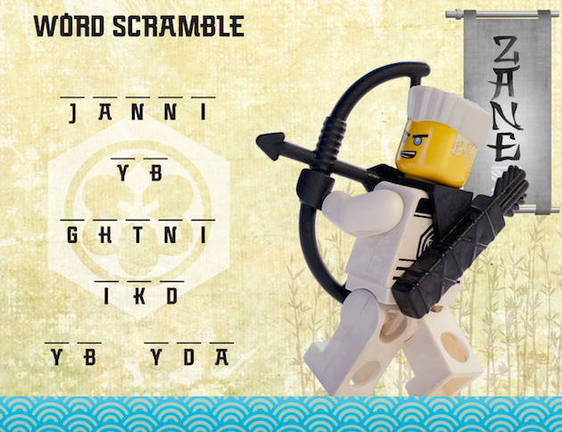 LEGO NINJAGO Word Scramble