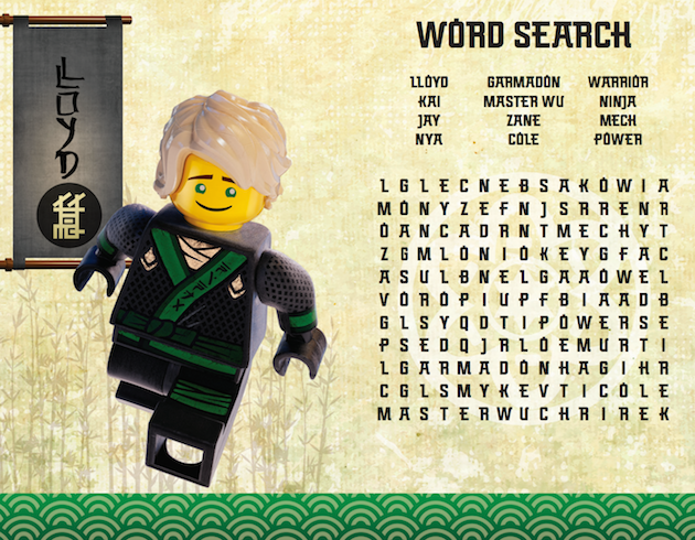 LEGO NINJAGO Word Search
