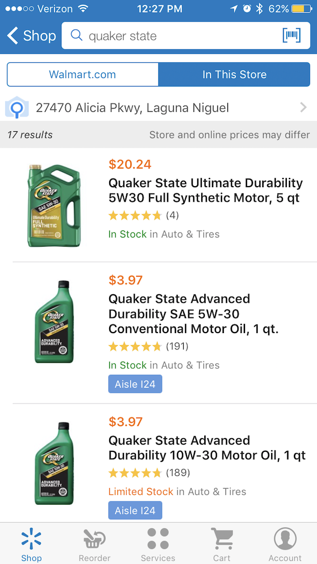 Quaker State Oil Availability