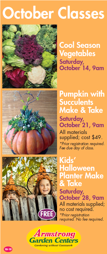 Fall Classes at Armstrong Garden Centers