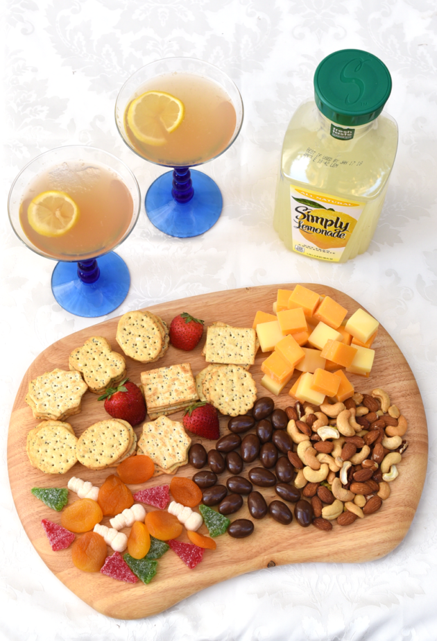 Cheese Platter and Sparkling Lavender Lemonade