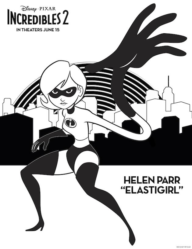 Elastigirl Incredibles 2 Coloring Sheet