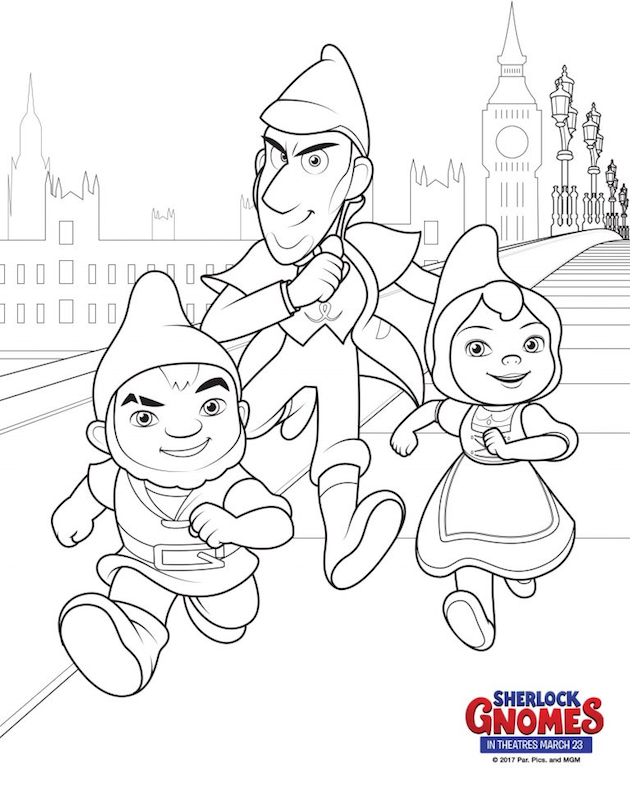 Sherlock Gnomes Coloring Page Sherlock Gnomeo Juliet