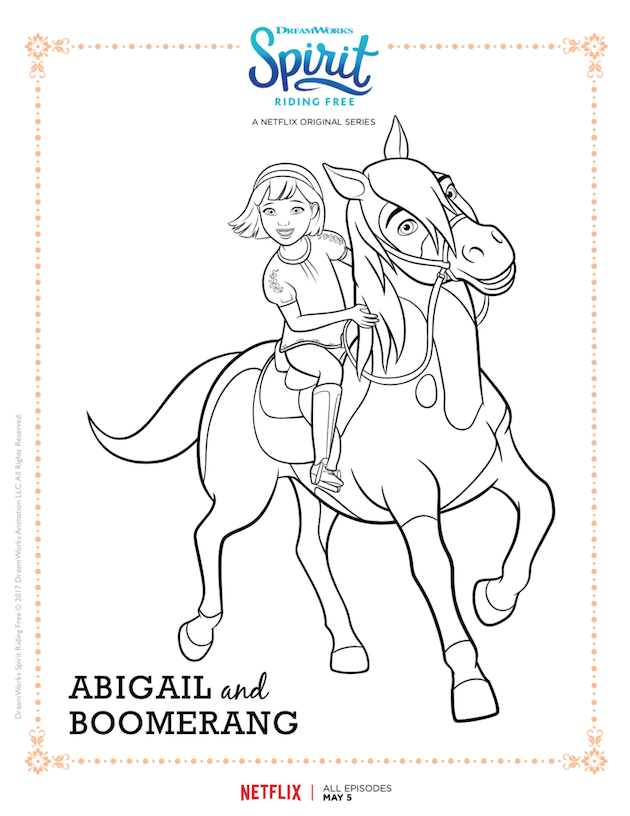 Spirit Riding Free Printable Coloring Sheet