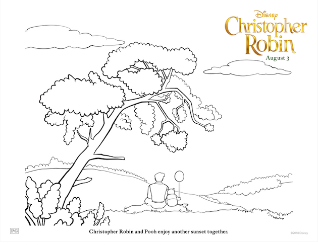 Christopher Robin and Pooh Coloring Sheet