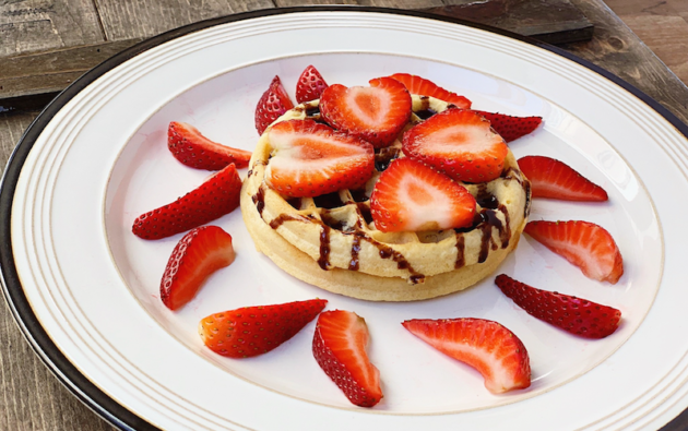 Waffle With Strawberries and Chocolate