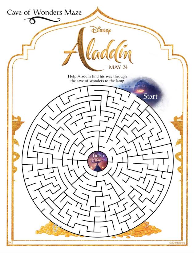 Aladddin Printable Maze
