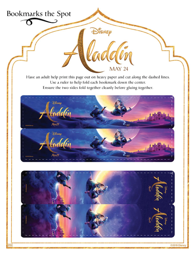 Aladdin Printable Bookmarks