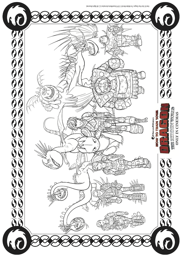 How to Train Your Dragon Hidden World Coloring Sheet