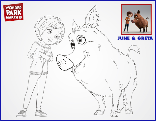 June and Great Wonder Park Coloring Page