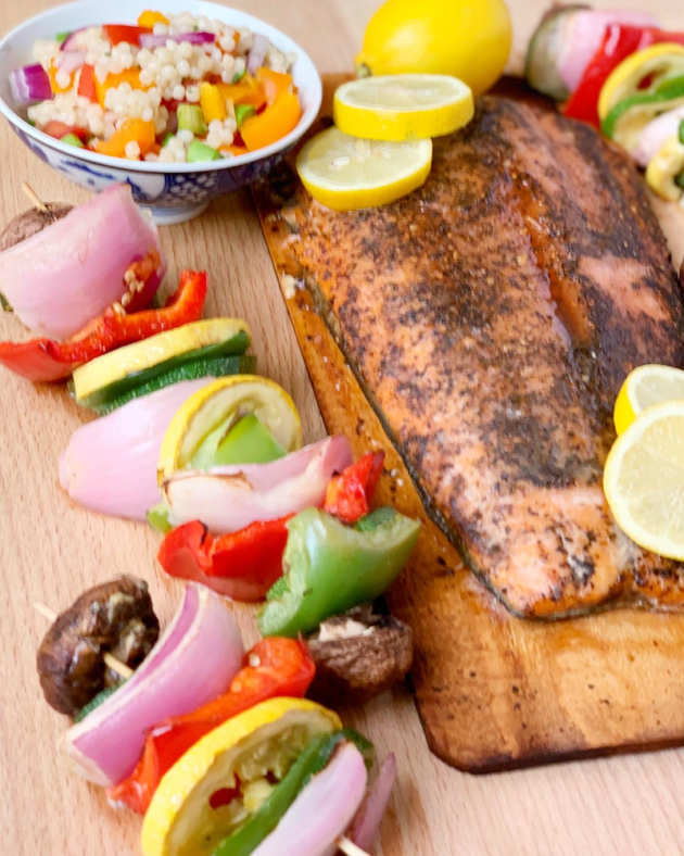 Cedar Plank Salmon and Grilled Vegetables