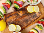 Sugar & Spice Cedar Planked Salmon with Grilled Vegetable Couscous