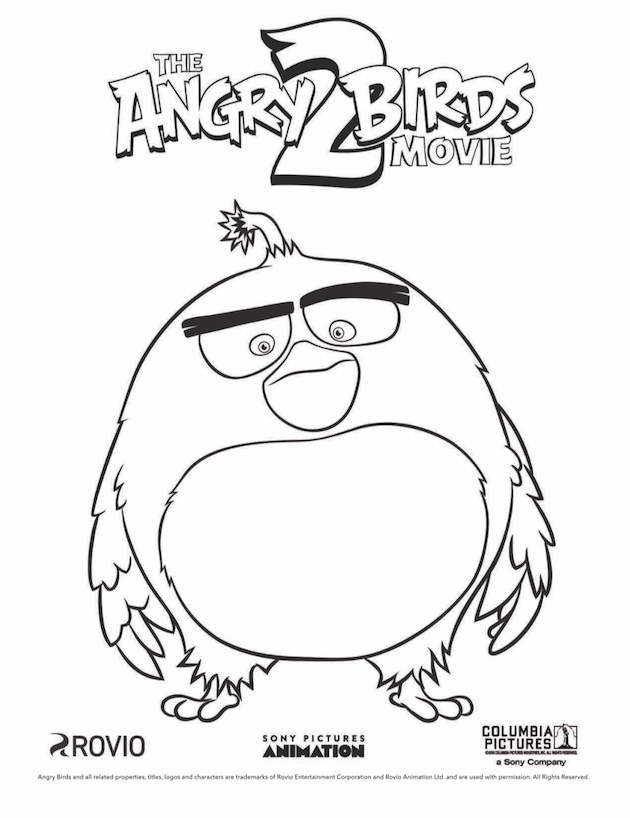 Angry Birds Coloring Sheet Bomb