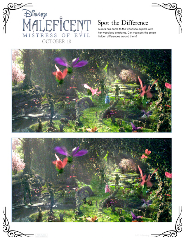 Maleficent Spot the Difference Activity Sheet